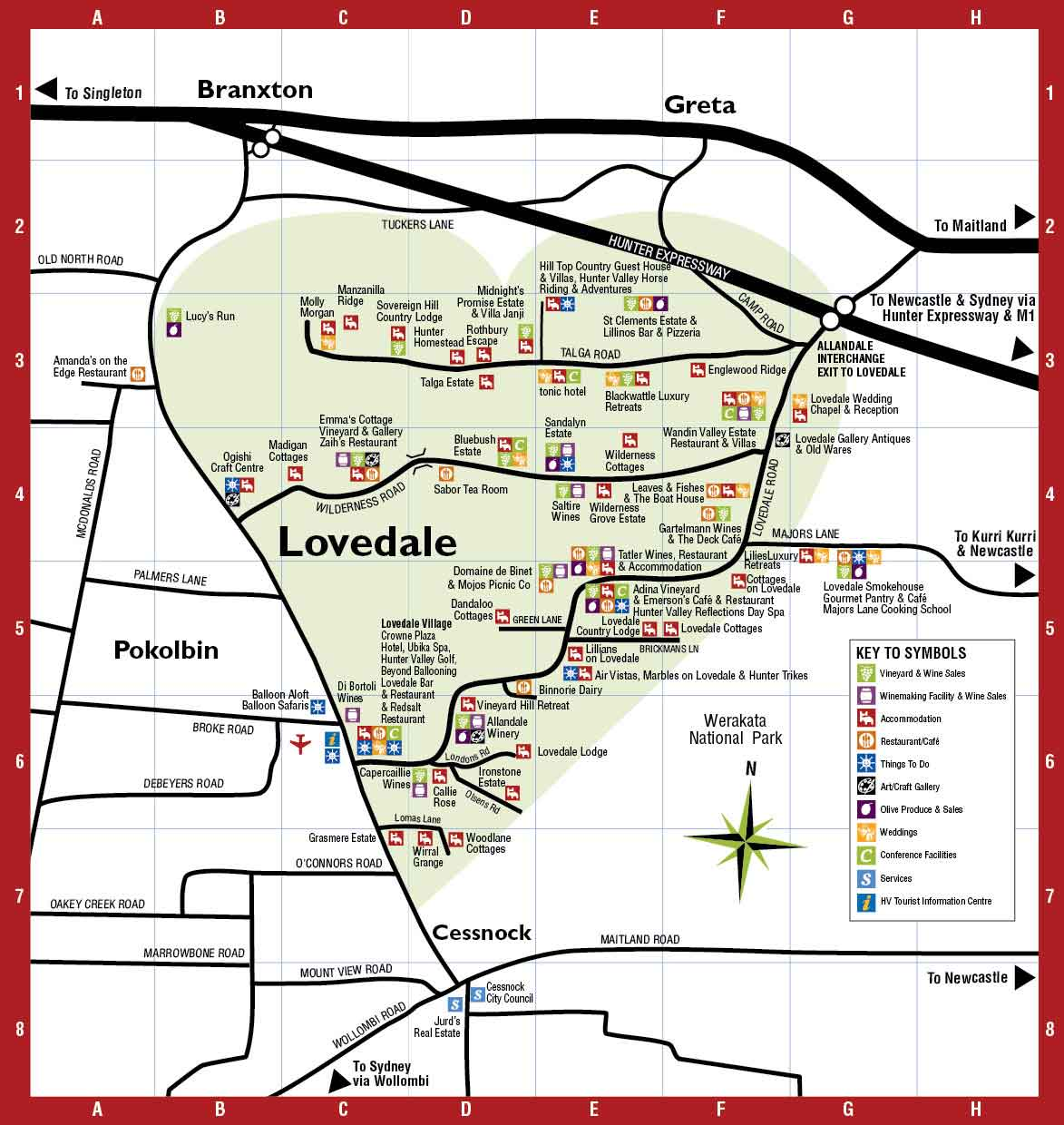 Hunter Valley Map  Lovedale Hunter Valley