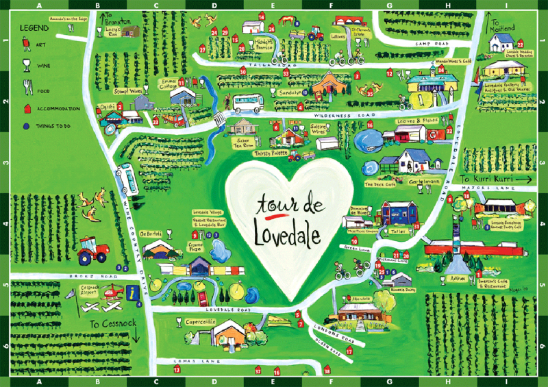 Map of Lovedale Hunter Valley NSW